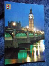 VINTAGE POSTCARD LONDON BIG BEN & WESTMINSTER BRIDGE BY NIGHT FISA UNPOSTED